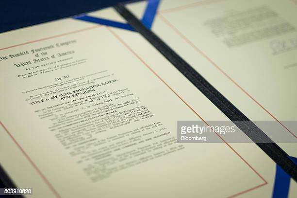 The Obamacare repeal bill is displayed after it was signed during an enrollment ceremony for the Restoring Americans Healthcare Freedom...