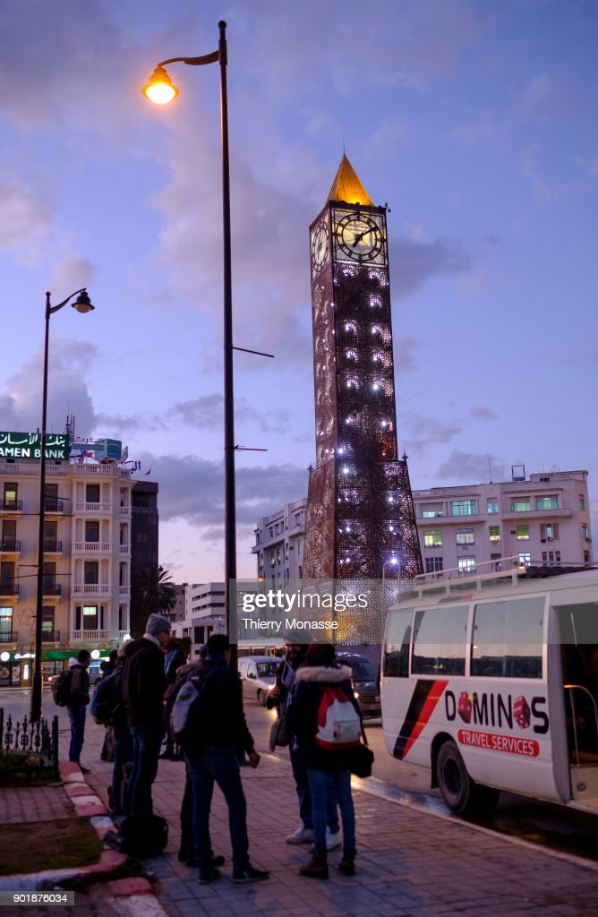 The Obelisk Clock monument on the Avenue Habib Bourguiba on December 23, 2017 in Tunis, Tunisia. Many of the Arab Spring demonstrations of 2011 took place near here.