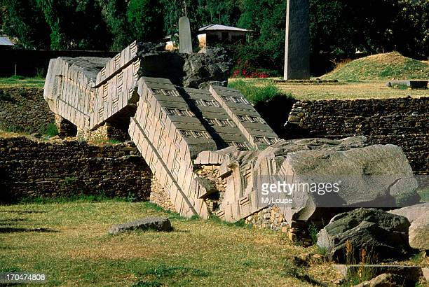 The obelisk columns found at Axum date back 2000 years or more and are related to the Biblical Solomon line of kings This broken column is the...