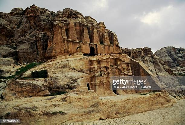 The Obelisk tomb 1st century AD atop the Bab asSiq Triclinium from more ancient times ancient city of Petra Jordan Nabataean civilisation 6th century...