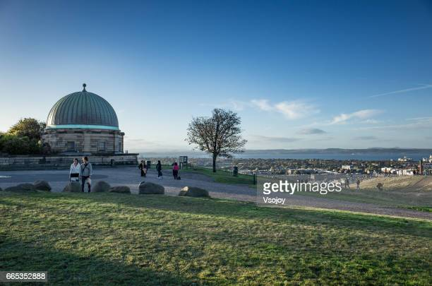 The Observatory and the city from the top of Calton Hill, Edinburgh, Scotland, UK