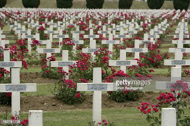 FRANCE DOUAUMONT The obvious scars of the First World War in Verdun Our picture shows the French military cemetery of WW1 at the charnel hous in...