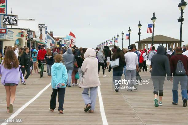 The Ocean City boardwalk is open for Memorial Day weekend during the coronavirus pandemic on May 24, 2020 in Ocean City, New Jersey.