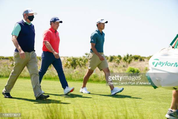 The Ocean Course Head Golf Professional, Stephen Youngner, PGA Coach Rick Sessinghaus and Collin Moriwaka during the 2021 PGA Championship Media Day...