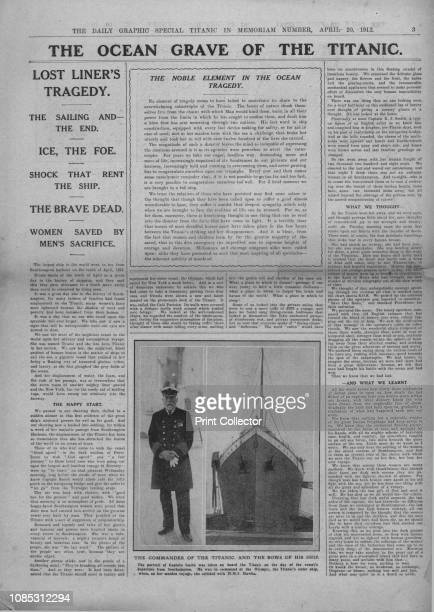 The Ocean Grave of the Titanic' and photograph of Captain Edward Smith April 20 1912 Article entitled 'The Ocean Grave of the Titanic' and photograph...