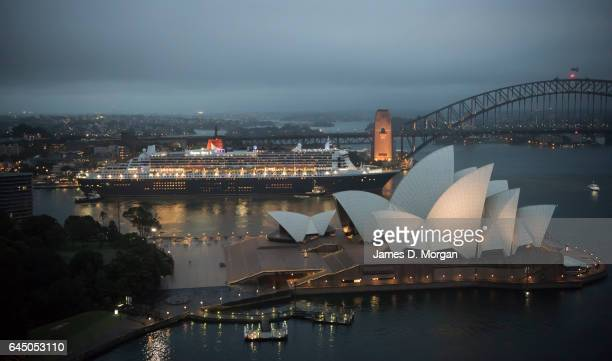 The ocean liner Queen Mary 2 moving into the Overseas Passenger Terminal at Circular Quay on February 25 2017 in Sydney Australia The voyage marks 10...