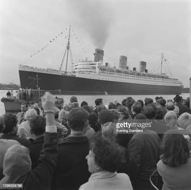 The ocean liner 'RMS Queen Mary' at Southampton Docks, UK, October 1967. Shortly after she sailed to a permanent mooring at Long Beach in California.