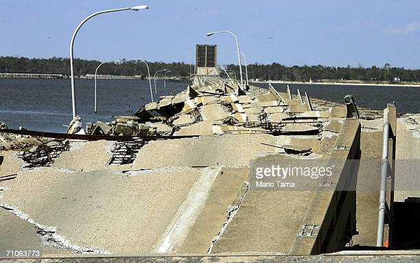 The Ocean Springs Bridge, a part of U.S. Highway 90 that once connected Biloxi to Ocean Springs, is still impassable following Hurricane Katrina on...