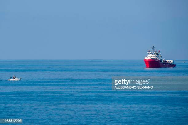 The Ocean Viking rescue ship sails off the coast of the island of Lampedusa in the Mediterranean Sea on September 15 2019 Italy on September 14...