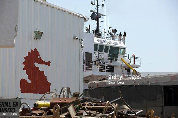 The Oceanografia SA logo is displayed on a building at the port in Ciudad del Carmen Mexico on Thursday March 27 2014 Mexicos government took control...