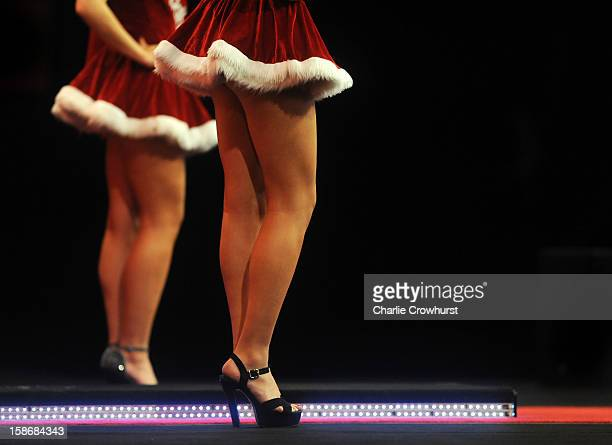 The oche girls wear christmas skirts on day Ten of the Ladbrokescom World Darts Championship at Alexandra Palace on December 23 2012 in London England