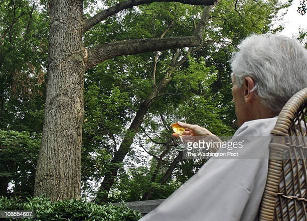 The O'Connors Pat and Chuck hold a farewell ceremony for the beloved tulip poplar in their back yard struck by lightning and condemned by arborists...