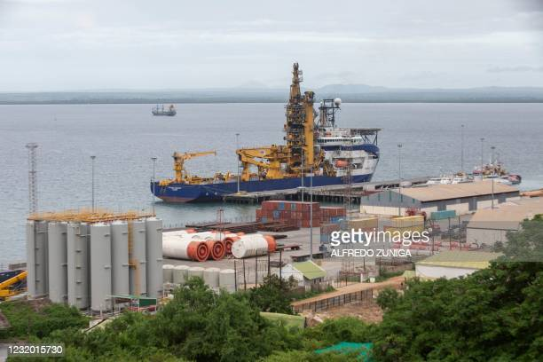 The OCSV Sapura Diamante , a pipe layer vessel used in offshore construction, is seen docked at the port of Pemba where sailing boats are expected to...