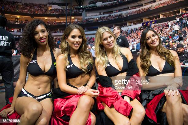 The Octagon Girls pose for a photo during UFC 211 at the American Airlines Center on May 13 2017 in Dallas Texas