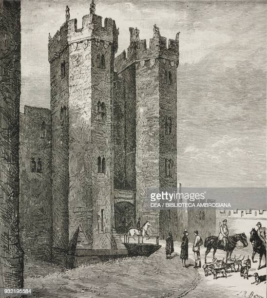 The Octagon Tower and draw bridge Alnwick Castle United Kingdom illustration from the magazine The Graphic volume XXX no 767 August 9 1884