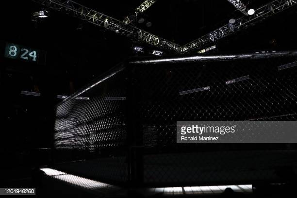 The octagon turns black and white after a 9 second moment of silence for Kobe Bryant during UFC 247 at Toyota Center on February 08, 2020 in Houston,...