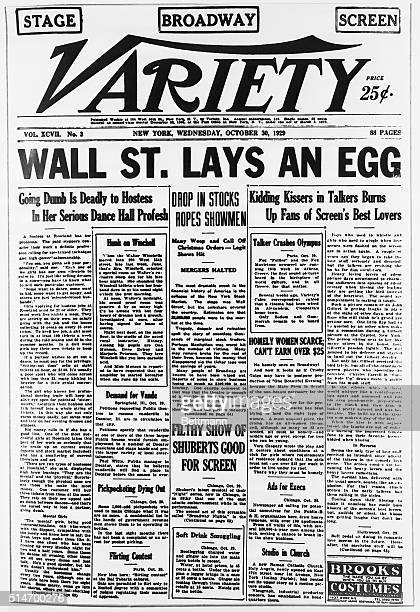 The October 30 headline of Variety reads Wall St Lays an Egg referring to the stock market crash
