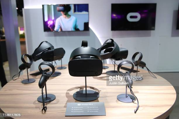 The Oculus Rift S virtual reality headset is displayed during the F8 Facebook Developers conference on April 30 2019 in San Jose California Facebook...