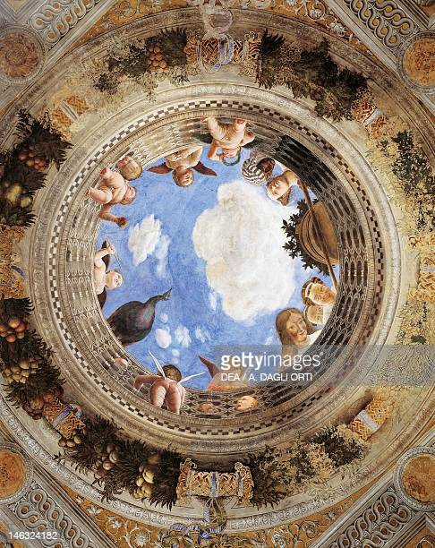 The oculus with cherubs and girls detail from the vault 14651474 by Andrea Mantegna fresco San Giorgio Castle Wedding Chamber or Camera Picta Mantua