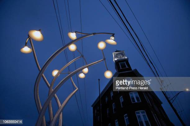 The Odd Fellows Block looms over 'Luminous Arbor' the new public art piece by Aaron T Stephan at the corner of Forest Avenue and Woodford Street The...