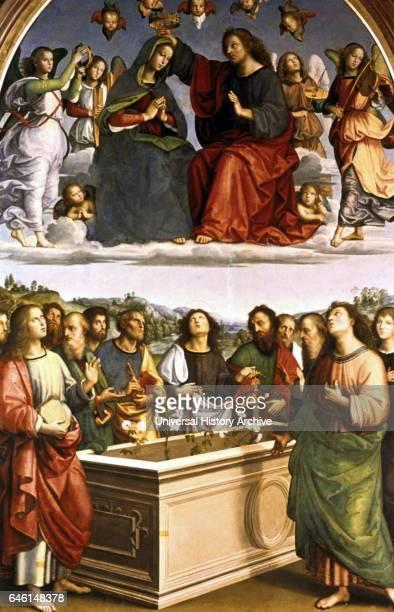 The Oddi Altarpiece 15021504 Oil tempera on canvas by the Italian High Renaissance artist Raffaello Sanzio da Urbino The crowning of the Virgin shows...