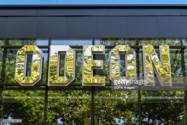 The Odeon Luxe cinema sign in London. British Prime Minister, Boris Johnson announced that cinemas can reopen in England from July 4 as restrictions...