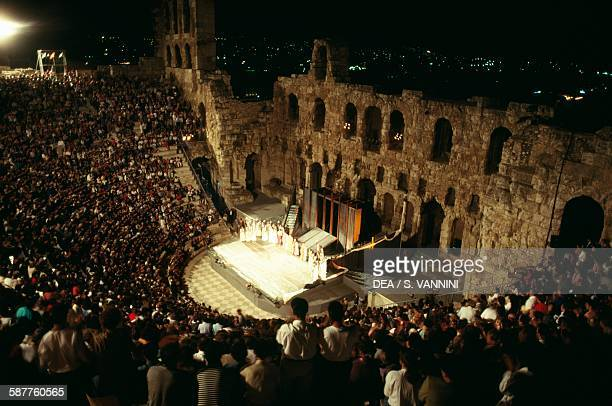 The Odeon of Herodes Atticus 161174 during a modern performance Acropolis of Athens Greece Greek and Roman civilisation 2nd century AD