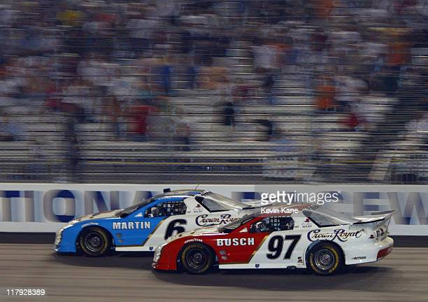 The of Mark Martin races of Kurt Busch for the win of race three of the Crown Royal International Race of Champion Series at Richmond International...