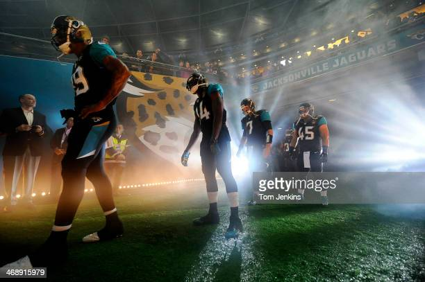 The offence of the Jacksonville Jaguars in the tunnel before the Jacksonville Jaguars versus San Francisco 49ers NFL International Series match at...