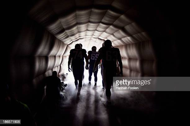 The offensive line for the Minnesota Vikings waits in the tunnel before the game against the Green Bay Packers on October 27 2013 at Mall of America...
