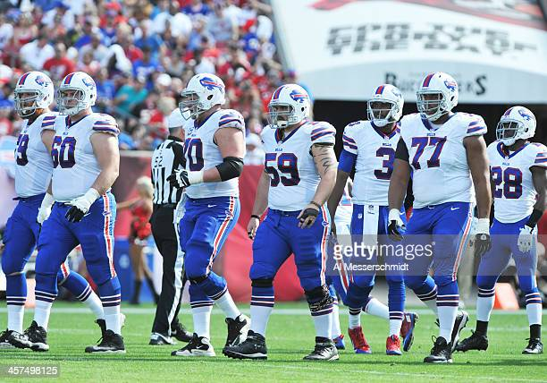 The offensive line of the Buffalo Bills stes for play against the Tampa Bay Buccaneers December 8 2013 at Raymond James Stadium in Tampa Florida...