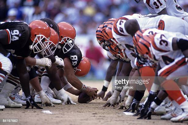The offensive line of the Cleveland Browns lines up against the defensive line of the Cincinnati Bengals during a game on September 5 1993 at...