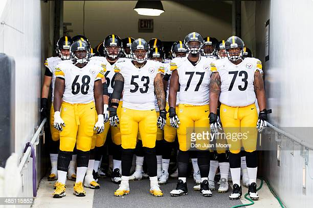 The Offensive Lineman of the Pittsburgh Steelers in the tunnel before the preseason game against the Jacksonville Jaguars at EverBank Field on August...