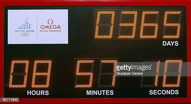 The offical countdown clock is seen during the One Year to Go ceremony FEBRUARY 10 2005 in Turin Italy The clock indicates the time remaing to the...