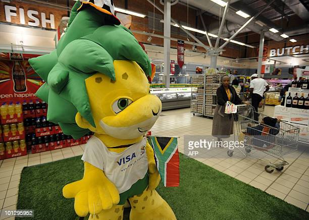 The offical mascot of the 2010 FIFA World Cup Zakumi is pictured on May 21 2010 in a supermarket at Maponya shopping mall in Soweto AFP PHOTO /...