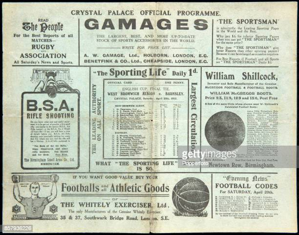 The offical programme for the FA Cup Final between Barnsley and West Bromwich Albion played at the Crystal Palace in London on 29th April 1912 The...