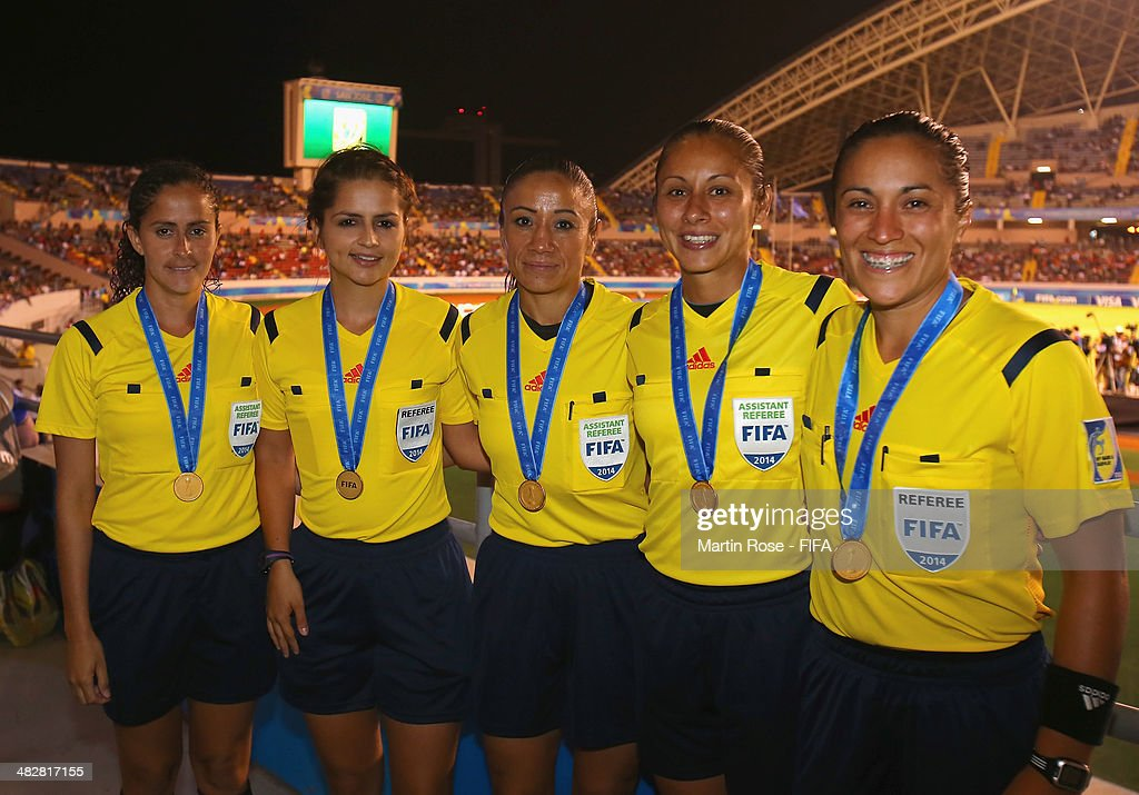 The officals line up after the FIFA U-17 Women's World Cup 2014 final match between Japan and Spain at Estadio Nacional on April 4, 2014 in San Jose, Costa Rica.