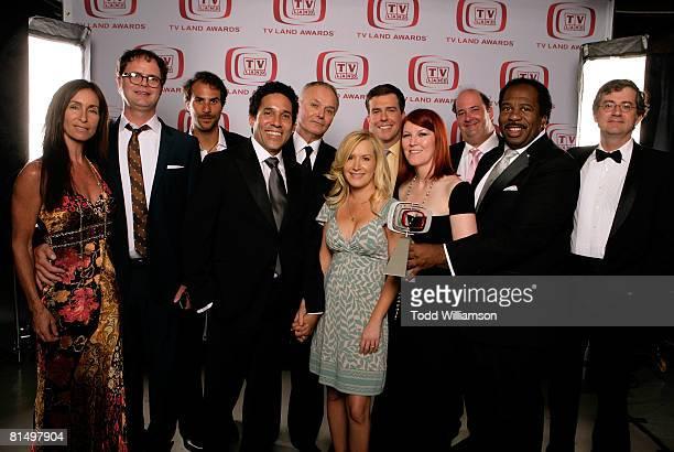 "The Office"" actors Rainn Wilson, Head of NBC Entertainment Ben Silverman, Oscar Nunez, Creed Bratton, Angela Kinsey, Ed Helms, Kate Flannery, Brian..."