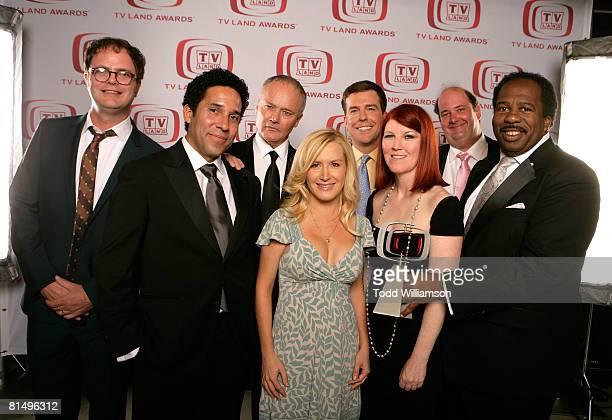 The Office actors Rainn Wilson Oscar Nunez Creed Bratton Angela Kinsey Ed Helms Kate Flannery Brian Baumgartner and Leslie David Baker pose for a...