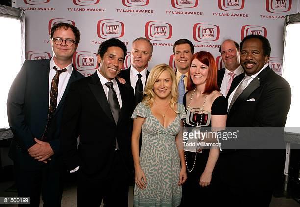 "The Office"" actors Rainn Wilson, Oscar Nunez, Creed Bratton, Angela Kinsey, Ed Helms, Kate Flannery, Brian Baumgartner and Leslie David Baker pose..."
