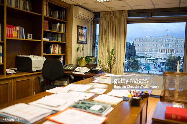 The office belonging to economist and Finance Minister for the Greek government Yanis Varoufakis photographed for Paris Match on March 6 2015 in...