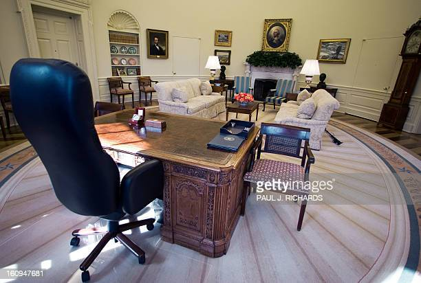 The office chair of US President George W Bush waits at his desk inside the Oval Office at the White House February 29 2008 in Washington DC AFP...