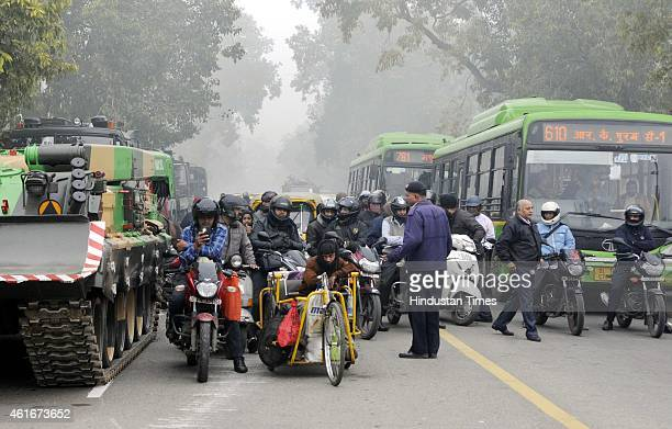 The office goers and traffic police facing difficulties during the rehearsals for the Republic Day at Raj Path on January 17 2015 in New Delhi India...