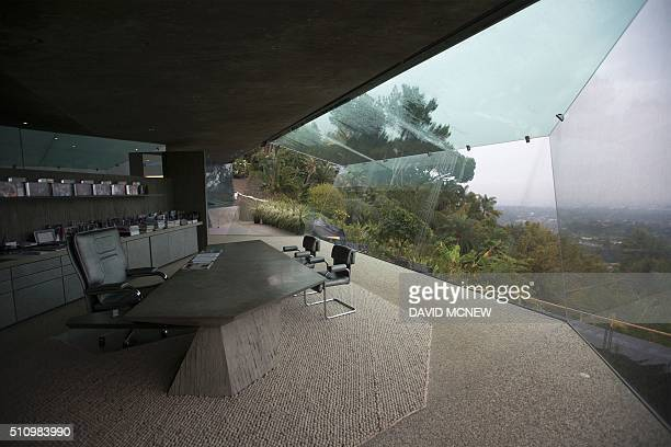 The office is seen during a tour of the John Lautnerdesigned home being donated to the Los Angeles County Museum of Art by fashion and basketball...