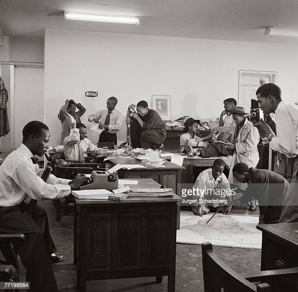 The office of 'Drum' magazine in Johannesburg 1954 The journalists include Henry Nxumalo Ezekiel Mphahlele Casey Motsisi Can Themba Arthur Maimane...