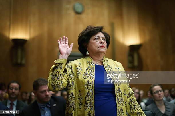 The Office of Personnel Management Director Katherine Archuleta is sworn in before testifying to the Senate Homeland Security and Governmental...