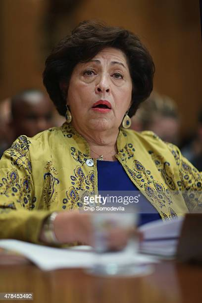 The Office of Personnel Management Director Katherine Archuleta testifies before the Senate Homeland Security and Governmental Affairs Committee...