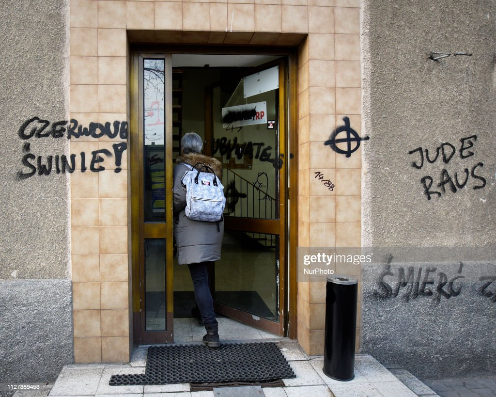 Citizens Of Poland Office Vandalised With Hate Symbols : News Photo