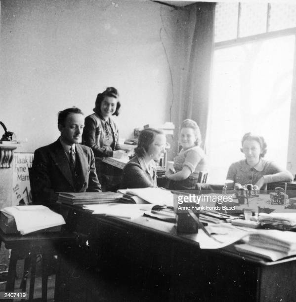 The office personnel in Otto Frank's company Amsterdam Netherlands 1941 Victor Kugler Esther Bep Voskuyl Pine and Miep GiesThe last names of Esther...