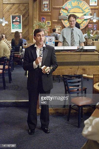 The Office The Dundies Episode 1 Aired Pictured Steve Carell as Michael Scott and Rainn Wilson as Dwight Schrute Photo by Paul Drinkwater/NBCU Photo...